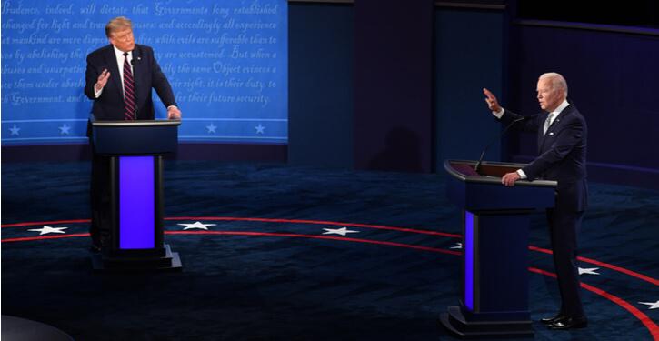 Image de Joe Biden et Donald Trump lors du premier débat présidentiel en 2020