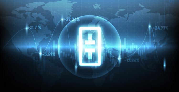 Image conceptuelle avec le symbole du réseau Theta devant une carte du monde