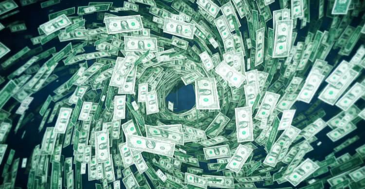 Une tornade fabriquée à partir de billets de banque américains