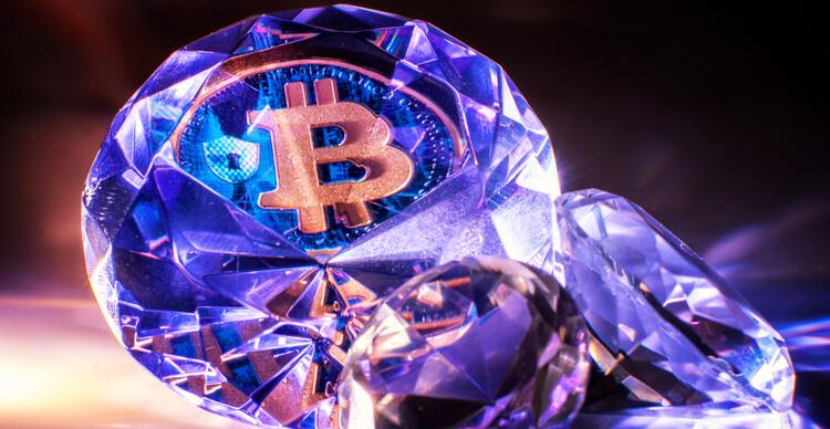 Le symbole du Bitcoin à l'intérieur d'un diamant