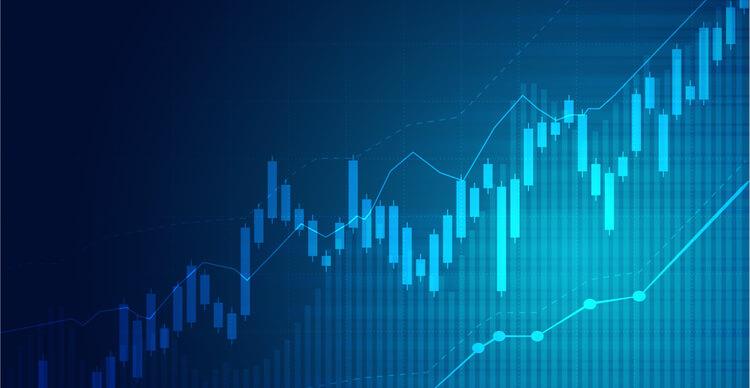 Graphique de trading bleu